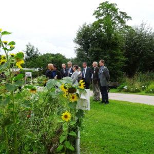 Christian Dreher (Bieneninstitut Kirchhhain) erklärt die verschiedenen Blühpflanzen-Demoflächen