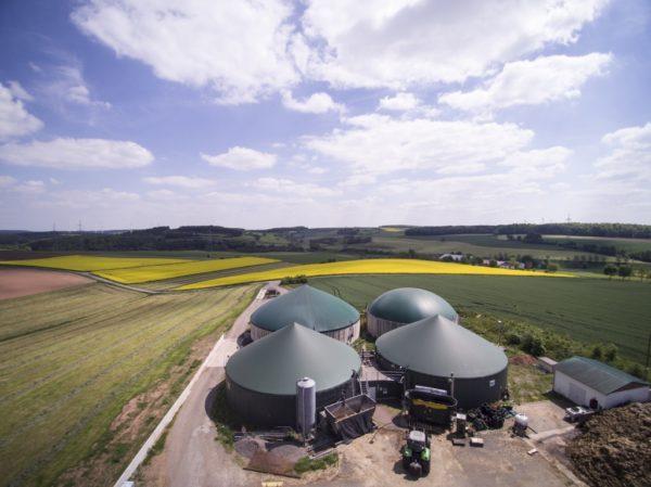 Biogasanlage aus der Vogelperspektive