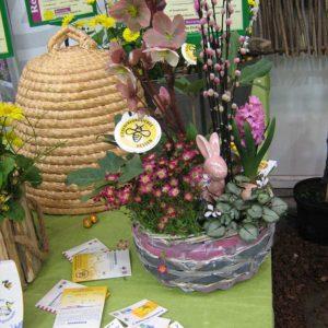 Bienenkorb und bepflanzte Frühlingsschale