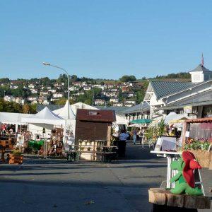 Das Marktgelände am Morgen vor dem großen Ansturm - das bunte Angebot lockte an den drei Tagen zahlreiche Besucher an.