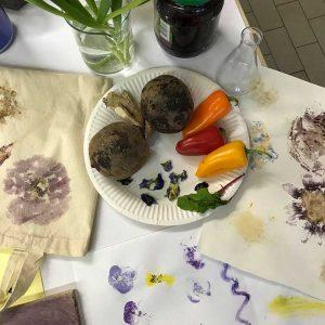 Farbe aus verschiedenen Gemüse- und Blühpflanzen künstlerisch nutzen