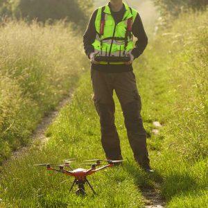 Die Drohne wird gestartet