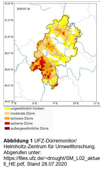 Abbildung: Trockenheit im Oberboden in Hessen, Dürremonitor, Stand 28.07.2020; Quelle: Helmholtz-Zentrum für Umweltforschung