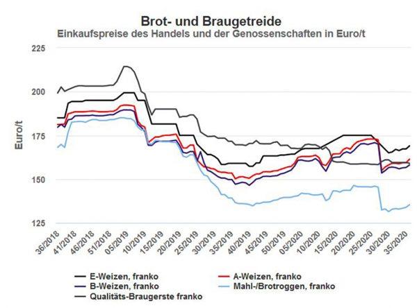 Getreidepreise in der Marktregion Hessen, netto ohne MwSt; Stand: 04.09.2020