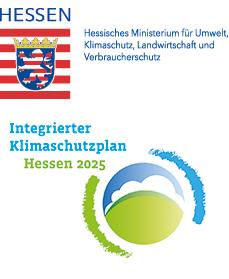 Logo: Hessisches Ministerium für Umwelt, Klimaschutz, Landwirtschaft und Verbraucherschutz; Logo: Integrierter Klimaschutzplan Hessen 2025