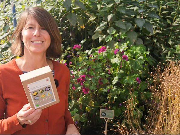 Entwicklerin Anja Neubauer im Rohstoffgarten des Kompetenzzentrum HessenRohstoffe (HeRo) des LLH in Witzenhausen