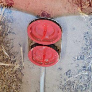 Im Lehmbett luftdicht eingebaute Steckdosen