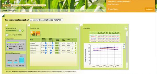 Screenshot des Ernteprognosemodells MaisProg für den Standort Butzbach und 5 verschiedenen Maissorten (Gesamtmodelloutput); Quelle: www.maiskomitee.de/maisprognose